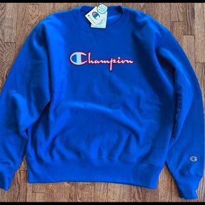 Champion blue reverse weave crewneck sweater!